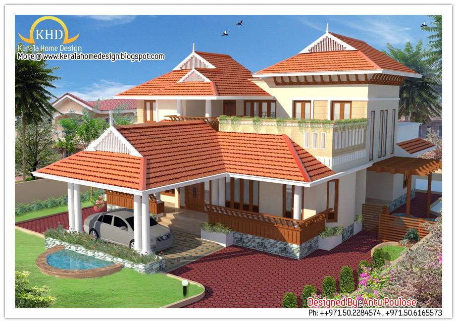 Beautiful Sloping Roof House Elevation Kerala Home