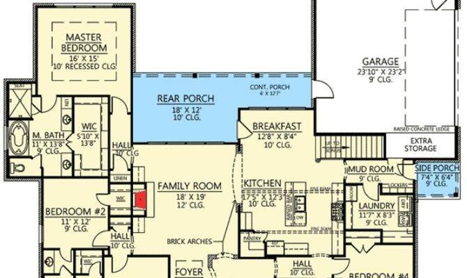 Bed Acadian House Plan Bonus Room