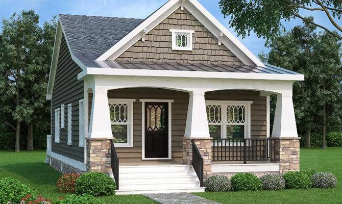 Bed Bungalow House Plan Vaulted Room