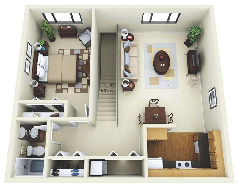 Bedroom Apartment Floor Plans Garage