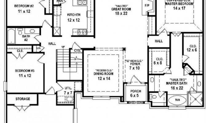 Bedroom Bath House Plan Plans Floor