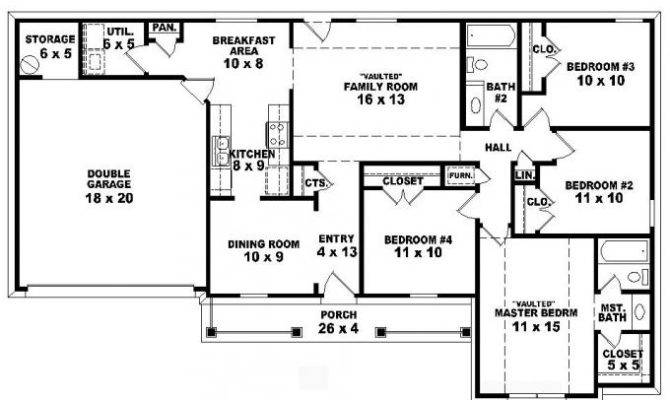 Bedroom Bath Traditional Ranch Style House Plan Plans