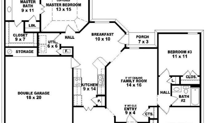Bedroom Bathroom House Plans Beautiful