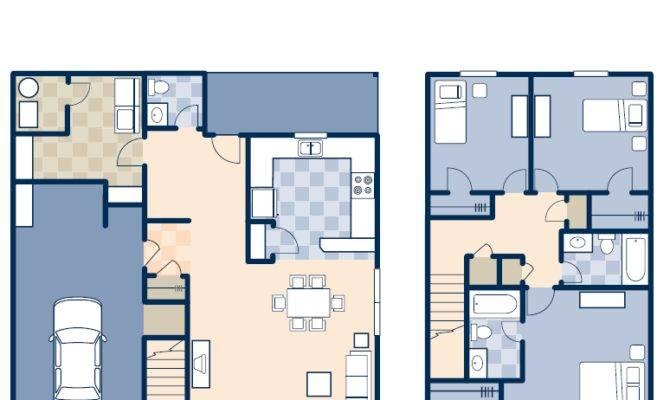 Bedroom Duplex House Plans Homes Floor