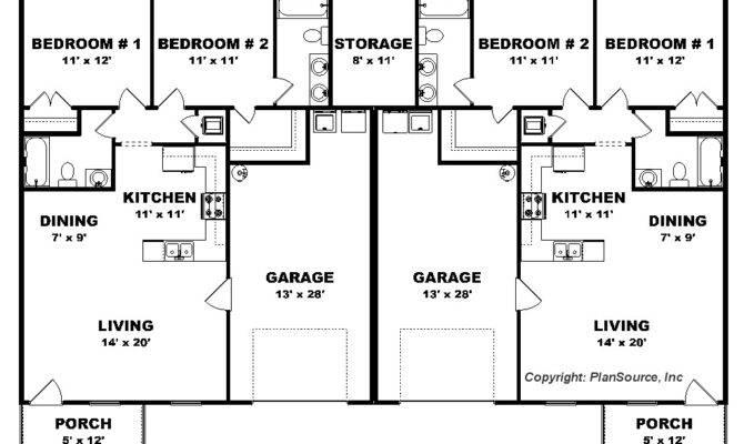Bedroom Duplex Plan Garage Per Unit Open Floor Plans