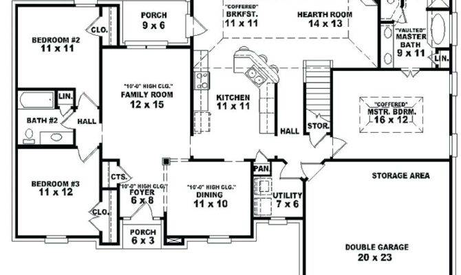 Bedroom House Plans Garage Medium Plan