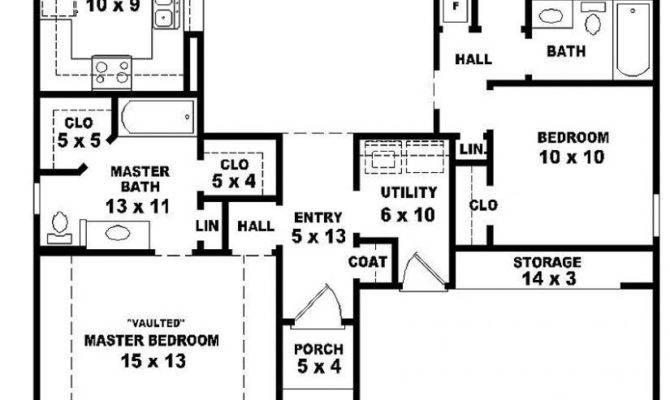 Bedroom House Plans One Story Marceladick
