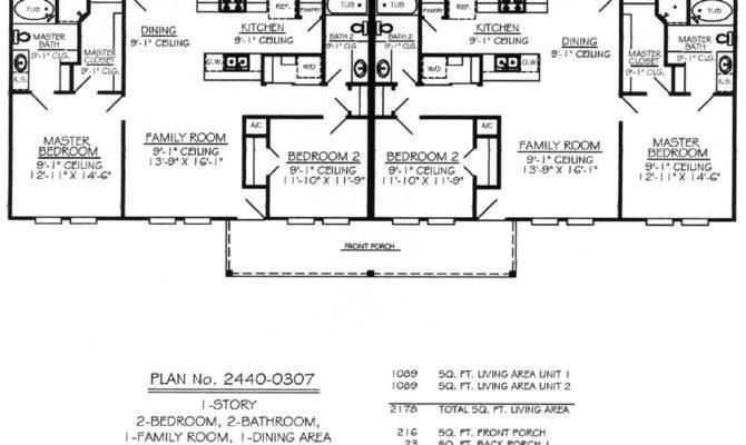 Bedroom Single Story Duplex House Plans