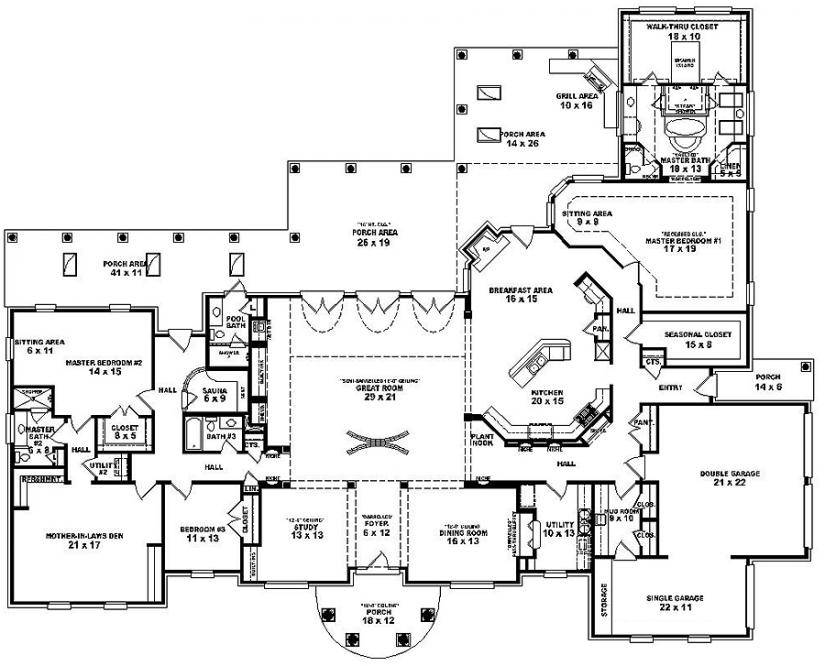 Bedroom Single Story House Plans
