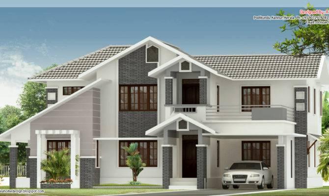 Bedroom Sloped Roof House Elevation Kerala Home Design Floor