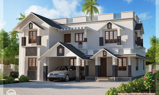Bedroom Sloping Roof House Design Plans