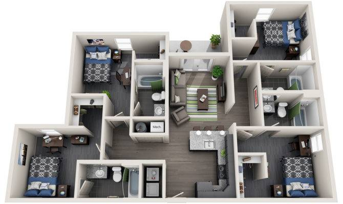 Bedroom Student Housing Off Campus Apartment