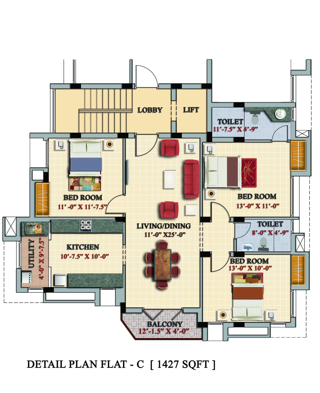 Bedrooms Duplex Floor Flats Plan Design Photos