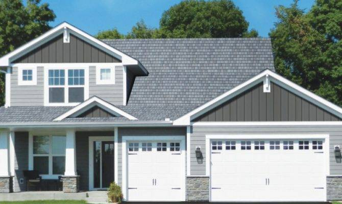Blue Gray Siding House Stone Facade Vinyl