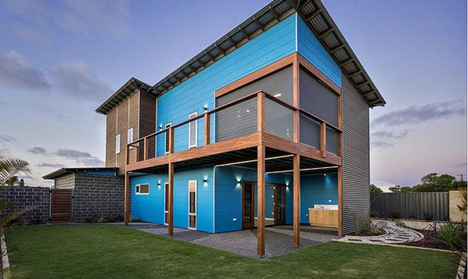 Blue Modern Two Story Beach House
