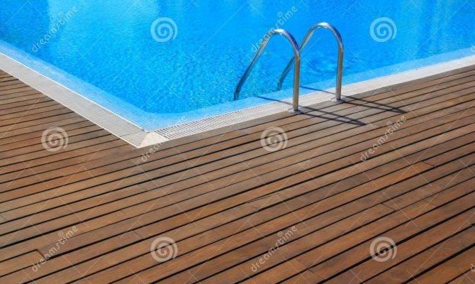 Blue Swimming Pool Teak Wood Flooring