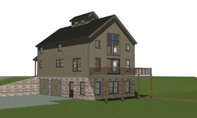 Boulder Meaddows Barn House Plans Right Elevation