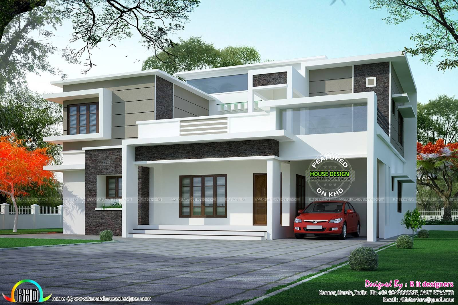 Box Type Flat Roof Home Arch Kerala Design Floor Plans