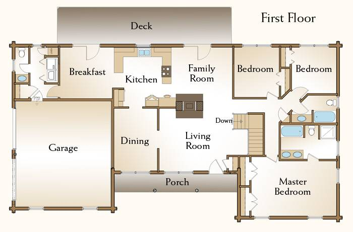 Brewster Log Home Floor Plan Bedroom Ranch