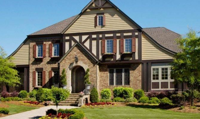 Brick Stone Veneer Siding Tudor Style House