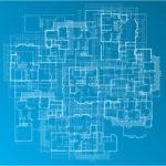 Building Blueprint Vector Illustration Detailed