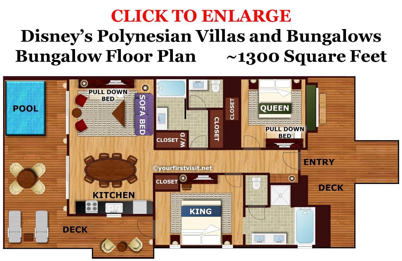 Bungalow Floor Plan Disney Polynesian Villas Bungalows