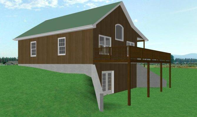 Cabin House Plan Walkout Basement