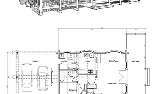Cabin Plans Lakefront Plan One Story Bungalow Floor Small