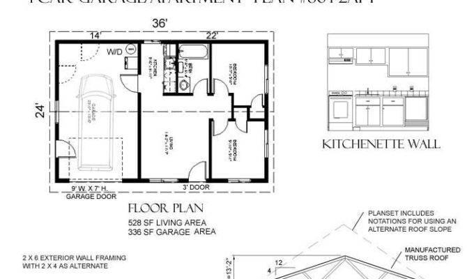 Car Apartment Garage Plan One Story Apt