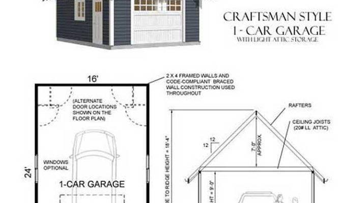 Car Craftsman Style Garage Plan Attic