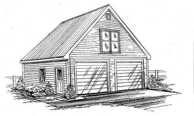 Car Front Gable Garage Building Blueprint
