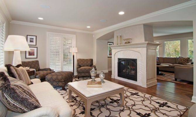 Center Room Fireplace Living Traditional Recessed