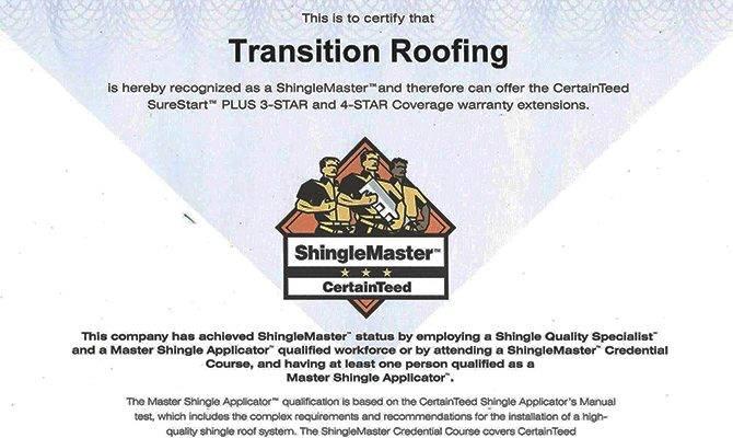 Certified Certaineed Installer Shingle Master Austin