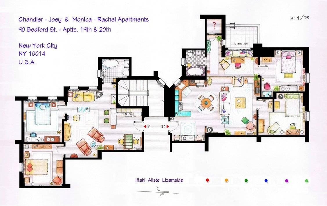 Chandler Joey Monica Rachel Apartment Floor Plans