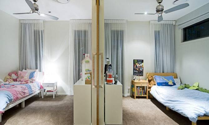 Children Room Bedroom Design Idea Carpet Sliding Doors Using