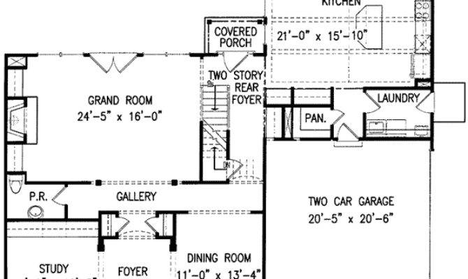 Classic Center Hall Home Plan Architectural