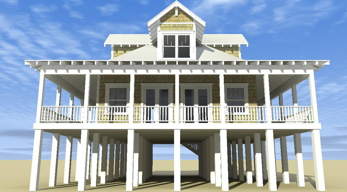 Classic Florida Cracker Beach House Plan