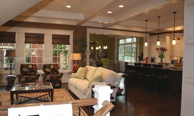 Classic Home Open Floor Plans Design Featuring Living Room Kitchen