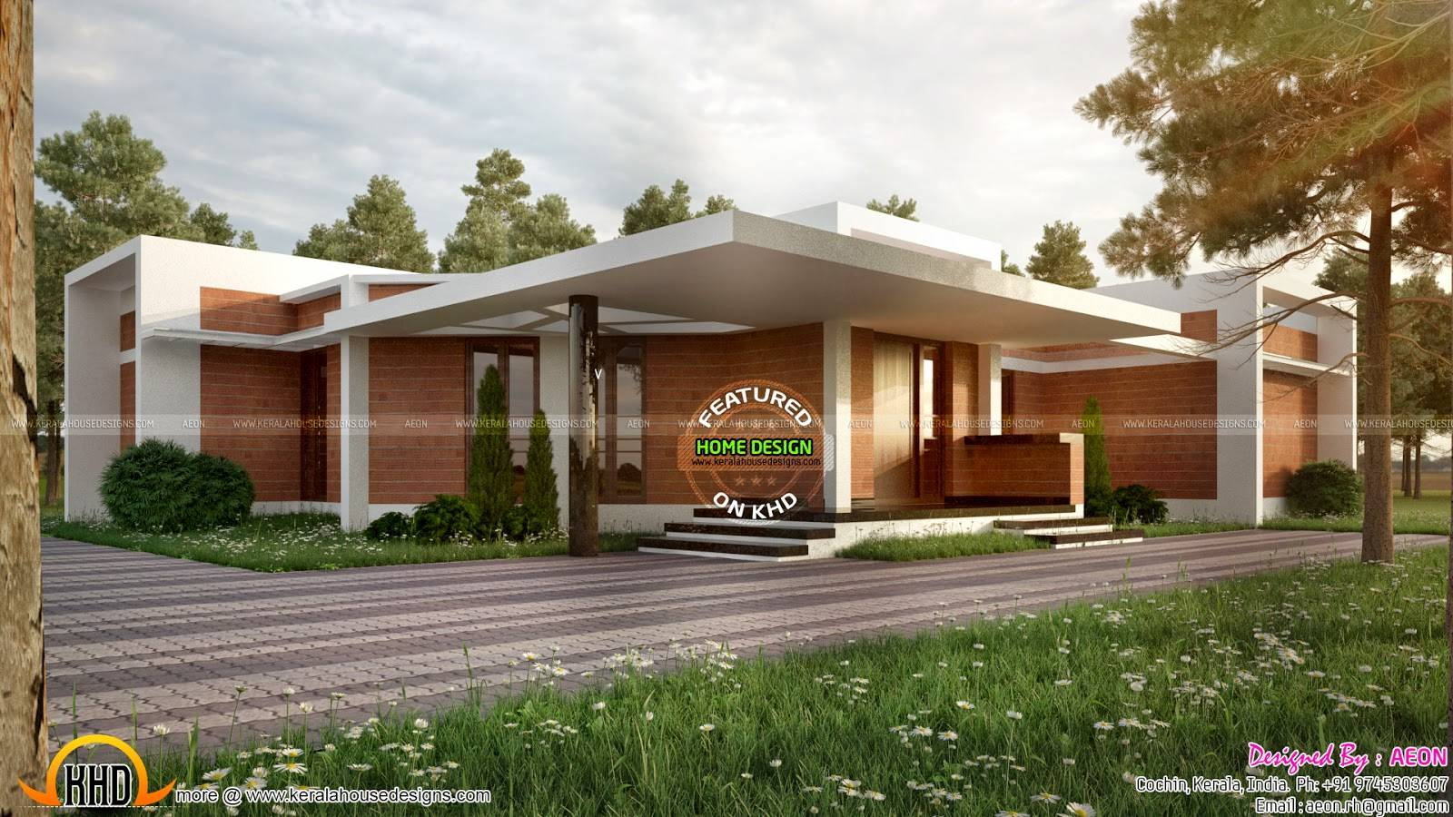 Clay Brick Home Design Kerala Floor Plans
