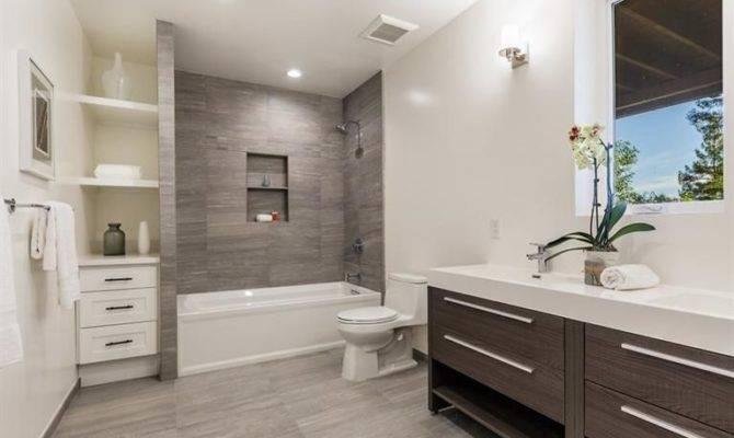 Contemporary Bathroom Built Bookshelf Wall