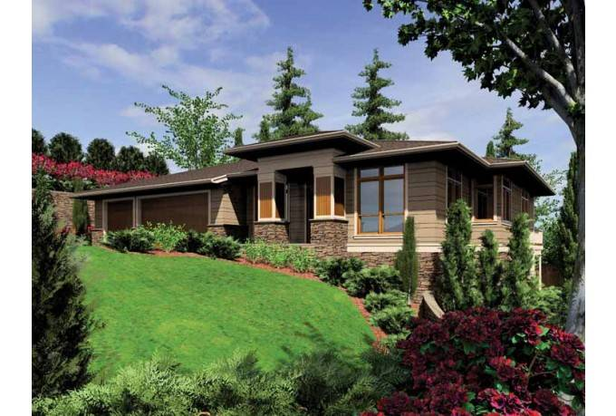 Contemporary Modern House Plan Sloping Lot