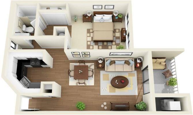 Contemporary One Bedroom Apartment Has Small Balcony