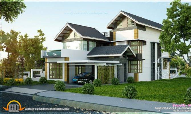 Contemporary Sloping Roof Home Kerala Design