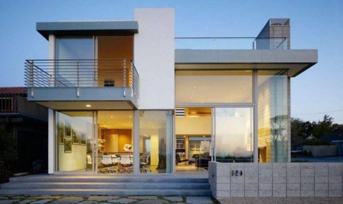 Contemporary Story House Design Deck Part Home