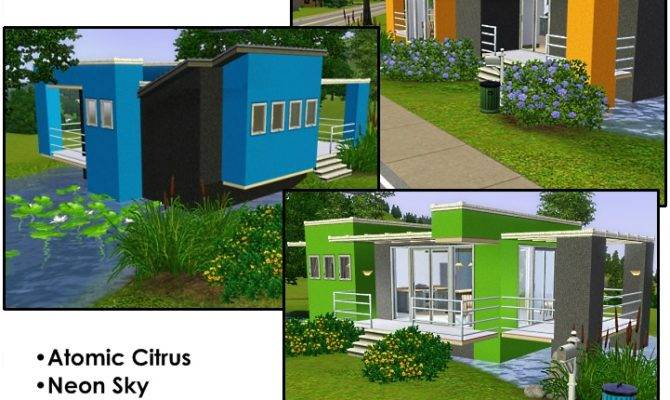 Cool Sims Houses Mod Vivid Colors Three Modern
