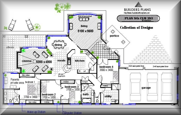 Corner Narrow Block Floor Plan Building House Designs