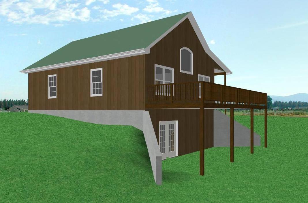 Country Cabin House Plan Walkout Basement