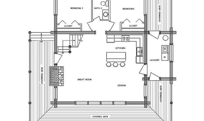 Country Classic Log Home Floor Plan Main