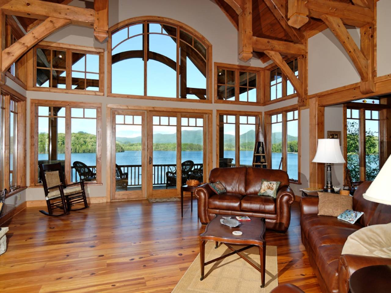 Country House Living Room Setting Luxury Lake Homes