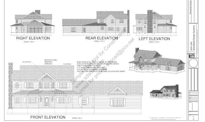 Country Style Porch House Plans Blueprints Construction Documents